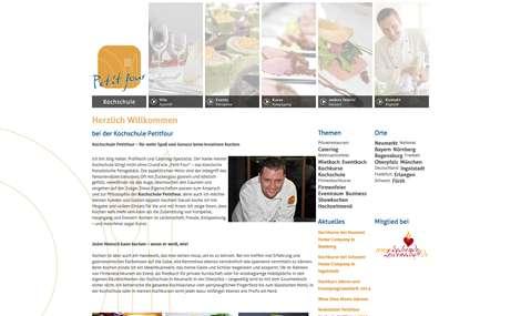 Screenshot der Website der Kochschule Petitfour